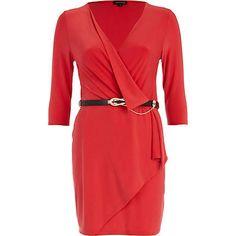 Wrap front belted dress #riverisland
