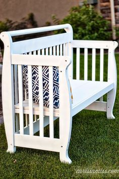 5131331a5e7950 A couple weeks ago I shared this fun crib to bench transformation on  Country Chic Paint