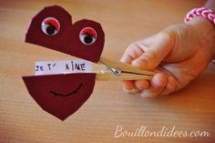 DIY fête des mères - mamies, st Valentin : Pince à linge coeur