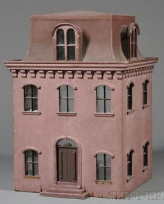 Dollhouse | American Wood & Tin 2 Story Glazed Windows Mansard, nice simple style, good design, and great roof design.  .....Rick Maccione-Dollhouse Builder www.dollhousemansions.com