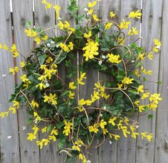 Forsythia and Pussy Willow Spring Wreath  Large by HornsHandmade, $75.00