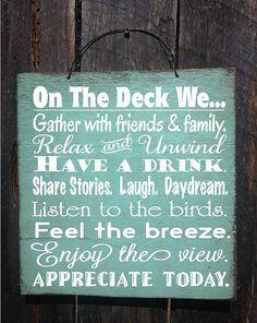 DECK RULES, deck sign, patio decor, patio sign, deck decor, outdoor living, deck sign, deck decoration