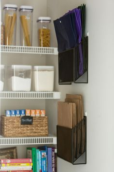 Storage for reusable grocery bags. 10 Smart, Family-Friendly Ways to Tame Kitchen Clutter Grocery Bag Storage, Grocery Bags, Grocery Store, Sliding Shelves, Repurposed Items, Organizing Your Home, Organizing Ideas, Pantry Organization, Kitchen Storage