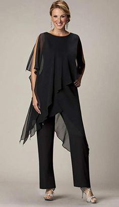 New Black Mother Of Bride Pant Suits Jewel Neckline Cheap Wedding Guest Dress With Sleeves Tiered Chiffon Mothers Dresses Bride Gowns, Bridal Dresses, Party Dresses, Lounge Dresses, Formal Dresses, Pageant Dresses, Formal Pant Suits, Beach Dresses, Evening Pant Suits