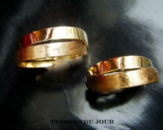Unique WEDDING BAND Set Gold Wedding Rings with by TresorsDuJour
