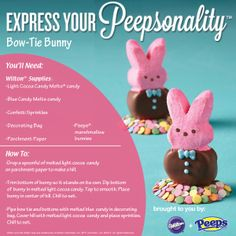 Express your Peepsonality with Wilton + Peeps. Chocolate Dipped Bow-Tie Bunny How-To.