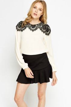 New Summer 2016 Fashion: Chic Lace Panel Cream Blouse