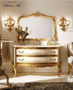 Italian Classic Luxury Handmade Bathroom Furniture by Andrea Fanfani Handmade Bathroom Furniture, Classic Bathroom Furniture, Diy Furniture Table, Painted Bedroom Furniture, Luxury Home Furniture, Refurbished Furniture, Classic Furniture, Art Furniture, Furniture Makeover