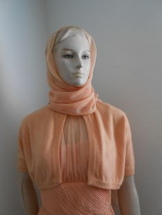 1950's Coral Color Cocktail Dress w/Matching Bolero w/Attached Scarf - Size M - pinned by pin4etsy.com
