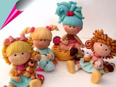 Polymer Clay Adorable Little Girls Polymer Clay People, Polymer Clay Figures, Cute Polymer Clay, Polymer Clay Dolls, Polymer Clay Projects, Polymer Clay Creations, 3d Quilling, Clay Figurine, Fondant Toppers
