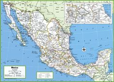 Detailed large political map of Mexico showing names of capital city