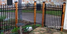 5ft Tall Signature Grade Aluminum Fence (Style #1 Classic) Mounted to Custom Stained Wood Posts with Wall Brackets for Patio Enclosure
