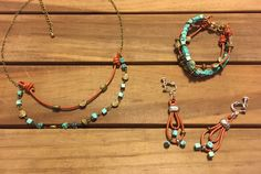 leather beads necklace, bracelet & earings