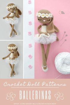 Ballerina Crochet Bunny Doll Pattern, Amigurumi Rabbit Doll with Tutu and Flowers Pattern, Bailarna Conejita Patron Bonnie Bunny from the series of Ballerinas, Amigurumi Crochet Patterns. This is a DOWNLOADABLE TUTORIAL. Written in English. Crochet Bunny, Cute Crochet, Crochet Hooks, Ballerina Doll, Sport Weight Yarn, Amigurumi Doll, Crochet Patterns, Playroom Ideas, Dolls