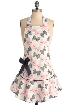 Bow Peep Apron  I would so much more motivation to cook if I had on this apron! So cute with the bow print and the little extra bow on the hip to add some flair! Gotta love the girliness!