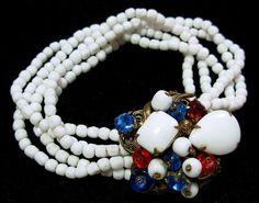 Miriam Haskell 5 Row Link Bracelet White by BrightgemsTreasures