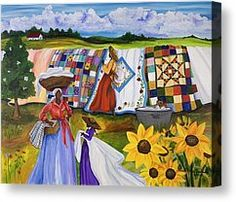 Country Quilts Painting by Diane Britton Dunham - Country Quilts Fine Art Prints and Posters for Sale