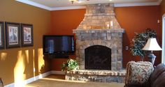 Tuscan inspired family room fireplace