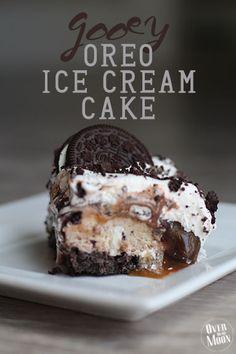 Gooey Oreo Ice Cream Cake | Over the Big Moon
