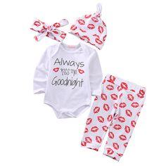 Nice Cute 4PCS Newborn Baby Girl Clothes Long Sleeve Cotton Romper Pants  Hat Headband Outfits Bebek 87575c0fb88