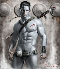 The Warrior by elGuaricho on DeviantArt My Fantasy World, Fantasy Male, Fantasy Warrior, Comics Illustration, Illustrations, Miami Fashion, Guy Drawing, Shirtless Men, Gay Art