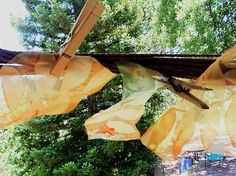 Dyed fabric leaves, just blowin' in the wind...