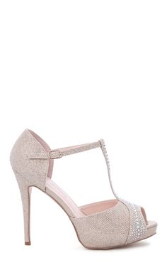 Peep Toe Glitter Platform with Stone Accented T-Strap