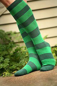 rugby striped knee socks, dark green & green, $8