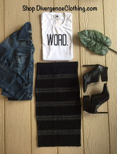 Shop Divergence Clothing  #streetstyle #bosslady #pencilskirt #blackpencilskirt #denimjacket #fall #falloutfit #winterfashion #fashion #streetfashion #fashionblogger #ootd #Divergenceclothing #cuteoutfits #style