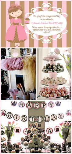 Tutus and Tiaras - ideas for princess and/or ballerina party Gold Birthday Party, Princess Birthday, First Birthday Parties, Girl Birthday, Birthday Ideas, 16th Birthday, Tutu Party, Festa Party, Diy Party