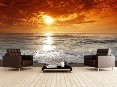 Install this custom-made Ocean Sunset wallpaper. Wall Murials, Wall Decals, Sunset Wallpaper, Photo Wallpaper, Furniture Decor, Modern Furniture, Australia Wallpaper, Wall Murals Bedroom, Beach Bedrooms