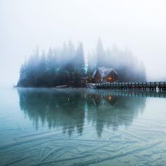 Warm house in the middle of a frozen lake Emerald Lake Lodge Canada | Michael Matti Photography