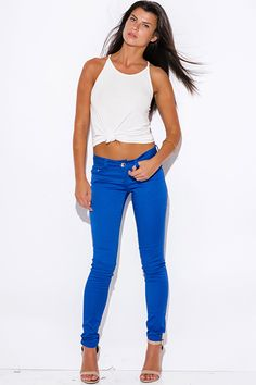 Cute cheap royal blue low rise fitted skinny pants Royal Blue Leggings 0e78f85ce