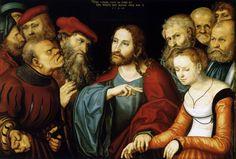 LUCAS CRANACH (1472 - 1553)    Christ and the Adulteress - 1532. Szépmûvészeti Múzeum, Budapest.