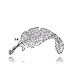 Crystals from Swarovski White Leaf Pin Brooch 18 ct White Gold Plated for Women >>> You can get more details by clicking on the image. (This is an affiliate link) #JewelryForWomen