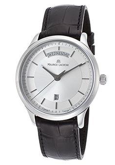 d3c349ebd47f Amazon.com  Men s Les Classiques Black Genuine Leather Silver-Tone Dial   Watches