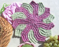 CherryBlossom Cotton Crochet Pinwheel by BillyGoatsBuffet on Etsy