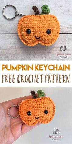 Amigurumi Crochet Pumpkin Keychain - Spin a Yarn Crochet - Hey all! Just popping into your feeds today with a quick Fall project that you can whip up in an… Crochet Pumpkin, Crochet Fall, Holiday Crochet, Crochet Gifts, Crochet Toys, Crochet Pour Halloween, Halloween Crochet Patterns, Crochet Kawaii, Cute Crochet