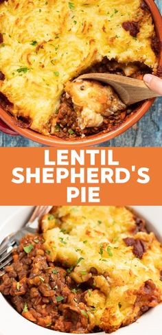Recipes Quick The ultimate Vegan Lentil Shepherd's Pie featuring rich, flavourful, saucy lentils topped with fluffy, creamy mashed potatoes & baked until deliciously golden brown & crispy asadas recetas Tasty Vegetarian Recipes, Vegan Dinner Recipes, Vegan Dinners, Veggie Recipes, Whole Food Recipes, Diet Recipes, Cooking Recipes, Healthy Recipes, Vegan Lentil Recipes
