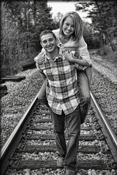 Engagement pic...bahah railroad tracks...perfect for me