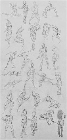 Today's draws. Need to start getting in to some motion studies and some invented figures here pretty soon... also hands and feet. 2's, 5's, and bottom right is 30ish.
