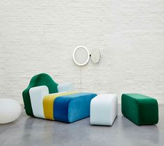 Sectional fabric armchair with footstool SLICE By Ligne Roset design Pierre Charpin Ligne Roset, Contemporary Furniture, Contemporary Design, Home Furniture, Furniture Design, Italian Furniture, Epoxy, Fabric Armchairs, Room Planner