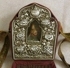 Antique Tibetan Buddhist Gau or Prayer Box Silver Repousse ...