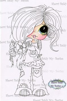 SOFORTIGEN DOWNLOAD digitale Digi Stamps großes von SherriBaldy Besties, Big Eyes Artist, Line Art Images, Gothic Culture, Creation Art, Black And White Lines, Copics, Colouring Pages, Digital Stamps