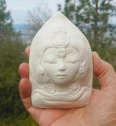 Porcelain Quan Yin White Tara Wall Hanging Art by jillatay