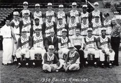 The Dallas Rangers were a high-level minor league baseball team located in Dallas, Texas from 1958 to 1964. The team was known by the Dallas Rangers name in 1958, 1959, and 1964 and as the Dallas-Fort Worth Rangers from 1960 to 1963. It played in the Double-A Texas League in 1958, the Triple-A American Association from 1959 to 1962 and the Triple-A Pacific Coast League in 1963 and 1964. Its home stadium was Burnett Field. Photo 1958.