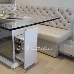 home decor inspo Kitchen Corner Bench, Condo Kitchen, Kitchen Bar Design, Dining Room Design, Kitchen Ideas, Tyni House, Kitchen Booths, Booth Seating, Breakfast Bar Kitchen