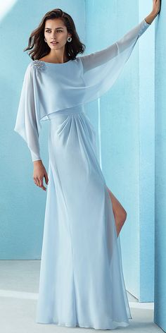 Beautiful Chiffon Bateau Neckline Long Sleeves A-line Prom Dress With Beadings