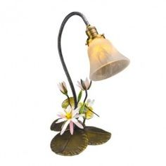 Art Glass Waterlily Dargonfly Lamp by Loy Allen