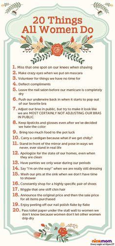 20 Things All Women Do